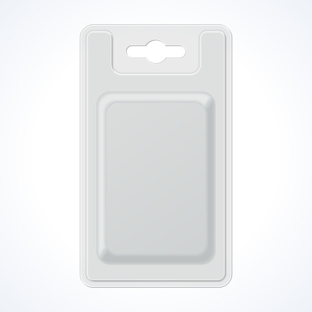 Plastic Transparent Blister With Hang Slot, Product Package  Illustration Isolated On White Background  Ready For Your Design      Vettoriali