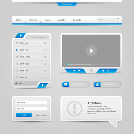 video player: Web UI Controls Elements Gray And Blue On Light Background  Navigation Bar, Buttons, Login Form, Play List, Message Box, Menu, Video Player, Play, Stop, Search, Download, Tooltip  Illustration