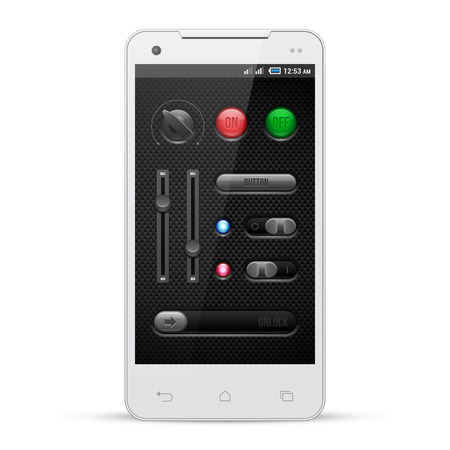 interface design: Carbon UI Application Software Controls Set  White Smartphone  Knobs, Switch, Button, Lamp, Indicator, Detector, Unlock, Mixer, Equalizer, Volume, LED  Web Design Elements Vector User Interface  Illustration