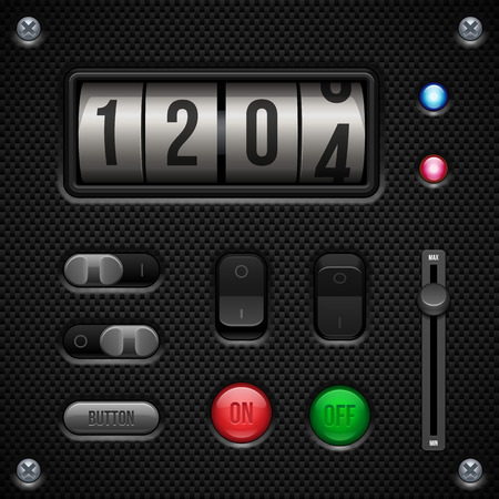 player controls: Carbon UI Application Software Controls Set  Switch, Knobs, Button, Lamp, Volume, Equalizer, Counter, Speedometer, Indicator, Detector, LED  Web Design Elements  Vector User Interface