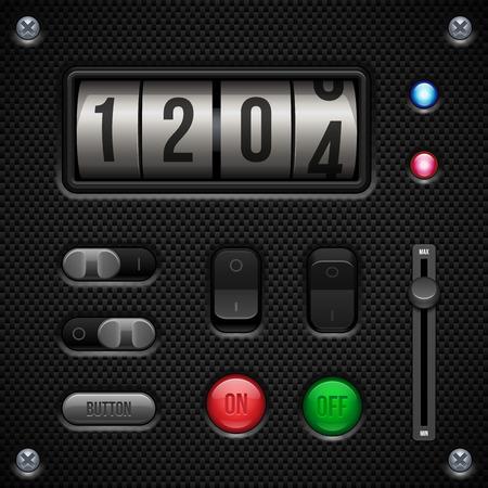 player controls: Controles de carbono software de aplicaci�n de interfaz de usuario Ajuste el interruptor, perillas, botones, L�mpara, volumen, ecualizador, Contador, veloc�metro, indicador, Detector, Dise�o Web LED Elementos del vector de interfaz de usuario Vectores