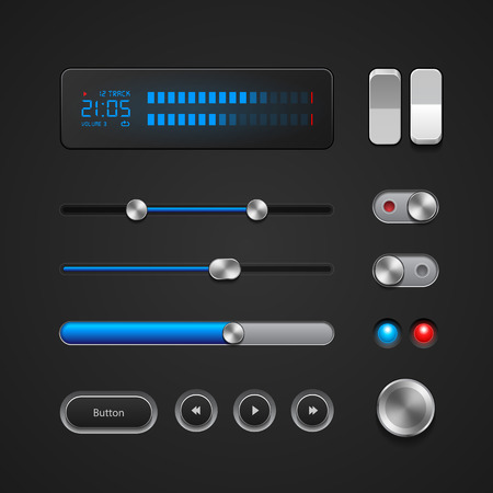Hi-End User Interface Elements  Buttons, Switchers, On, Off, Player, Audio, Video  Play, Stop, Next, Pause, Volume, Equalizer, Power, Screen, Track, Slider, Progress Bar  Vector