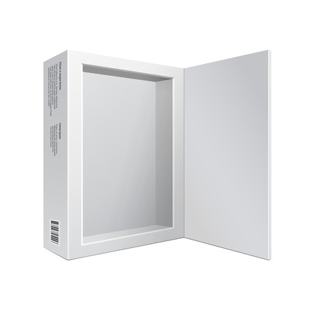 Opened White Modern Software Package Box For DVD, CD Disk Or Other Your Product  Vettoriali