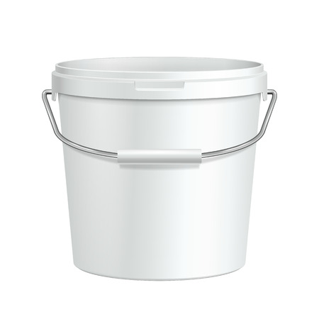 Opened Tall White Tub Paint Plastic Bucket Container With Metal Handle  Plaster, Putty, Toner  Ready For Your Design  Product Packing    Vector