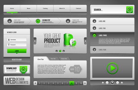 Modern Clean Website Design Elements Grey Green Gray  Buttons, Form, Slider, Scroll, Carousel, Icons, Menu, Navigation Bar, Download, Pagination, Video, Player, Tab, Accordion, Search  Vector