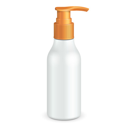 dispenser: Plastic Clean White Bottle With Yellow Dispenser Pump