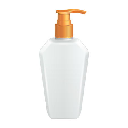dispenser: Plastic Clean White Bottle With Yellow Dispenser Pump
