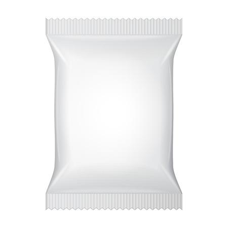 White Blank Foil Food Snack Sachet Bag Packaging  Vettoriali