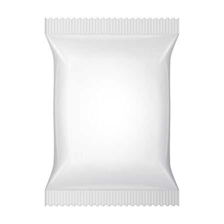 White Blank Foil Food Snack Sachet Bag Packaging Imagens - 30728975