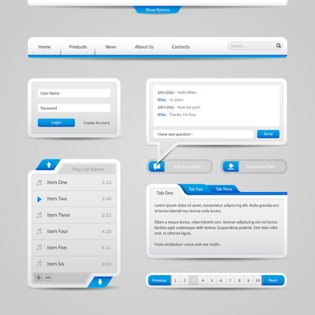 Web UI Controls Elements Gray And Blue On Light Background   Vector