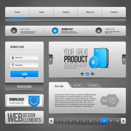 Modern Clean Website Design Elements Grey Blue Gray  Buttons Illustration
