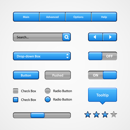 Clean Light Blue User Interface Controls  Web Elements