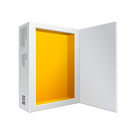 software box: Opened White Modern Software Package Box Orange Yellow Inside