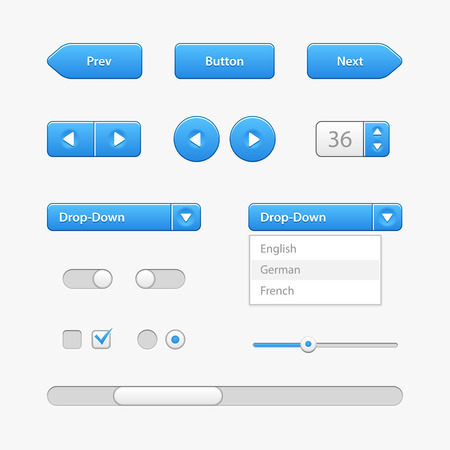 Blue Light User Interface Controls  Ilustracja