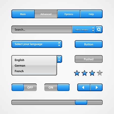Clean Light Blue User Interface Controls. Web Elements. Website, Software UI: Buttons, Switchers, Slider, Arrows, Drop-down, Navigation Bar, Menu, Tooltip, Check Box, Radio, Scroller, Input Search Vector
