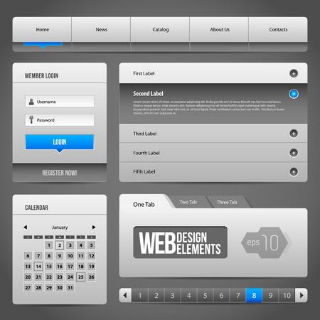 search button: Modern Clean Website Design Elements Grey Blue Gray 3: