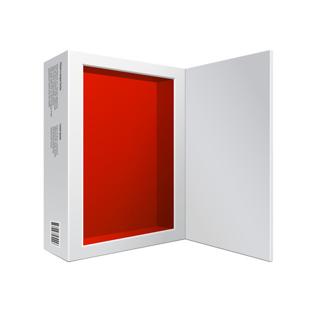 packaging: Opened White Modern Software Package Box Red Inside For DVD, CD Disk Or Other Your Product