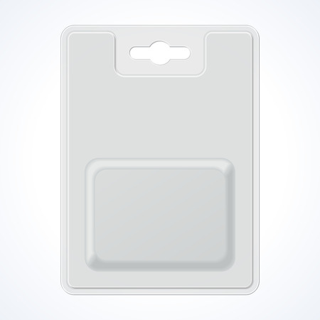 Plastic Transparent Blister With Hang Slot, Product Package. Illustration Isolated On White Background. Ready For Your Design.