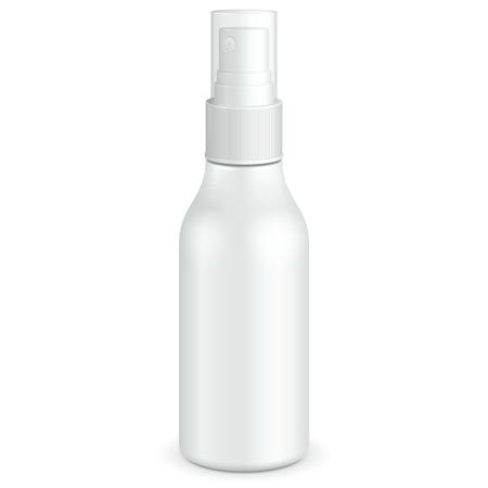 Spray Cosmetic Parfume, Deodorant Or Medical Antiseptic Drugs Plastic Bottle White. 일러스트