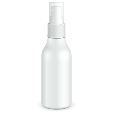 Spray Cosmetic Parfume, Deodorant Or Medical Antiseptic Drugs Plastic Bottle White. Illustration