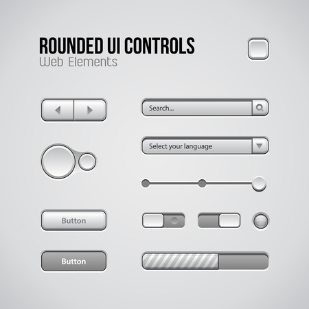 player controls: Web UI Controls Design Elements: Buttons, Switchers, On, Off, Player, Audio, Video: Play, Stop, Next, Pause, Volume, Equalizer, Knobs, Drop-down, Navigation Bar, Progress Bar, Search