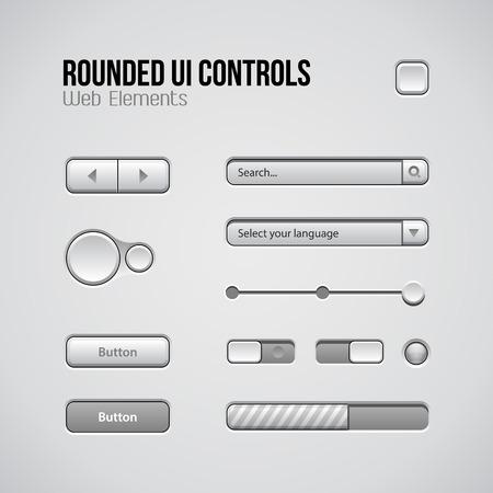 player controls: Web UI Controls Elementos de dise�o: Botones, Selectores, On, Off, DVD, Audio, V�deo: Reproducir, Detener, Siguiente, pausa, volumen, ecualizador, Perillas, desplegables, barra de navegaci�n, barra de progreso, Buscar Vectores