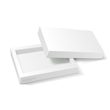 白い段ボールのパッケージ箱を開けた。ギフトお菓子。白い背景の上に分離します。あなたのデザインの準備ができて。製品梱包ベクトル EPS10