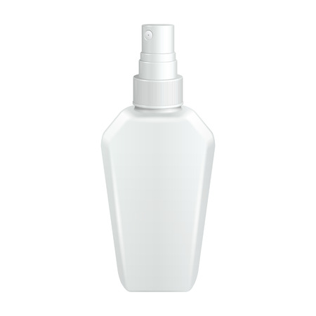freshener: Spray Cosmetic Parfume, Deodorant, Freshener Or Medical Antiseptic Drugs Square Plastic Bottle White.