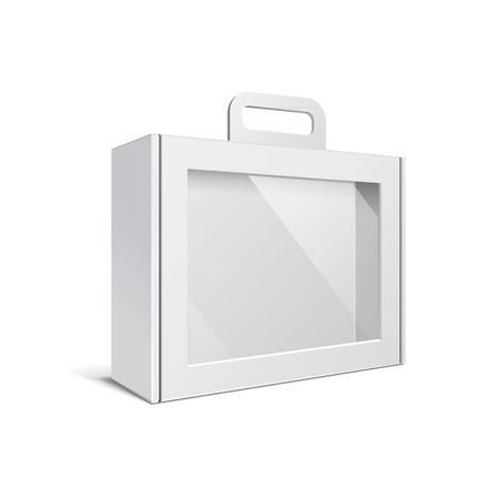 カートンまたはプラスチック白空白パッケージ ボックス ハンドル。場合、フォルダー、ポートフォリオ ケース、ブリーフケース。白い背景で隔離