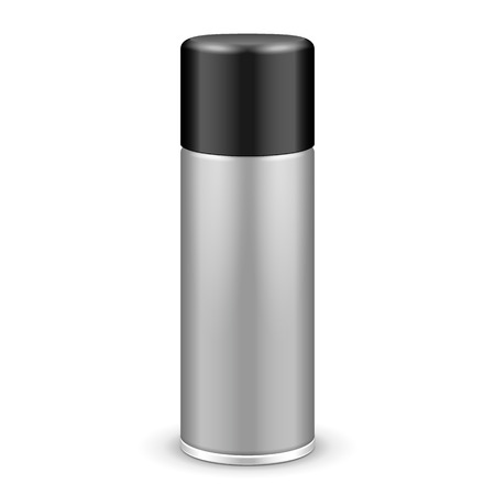 Gray Aerosol Spray Metal Bottle Can With Lid Cap: Paint, Graffiti, Deodorant EPS10 Vector