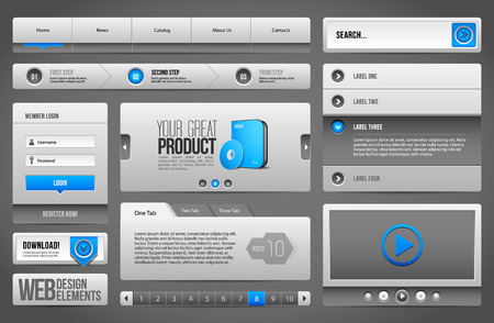 pagination: Modern Clean Website Design Elements Grey Blue Gray Illustration