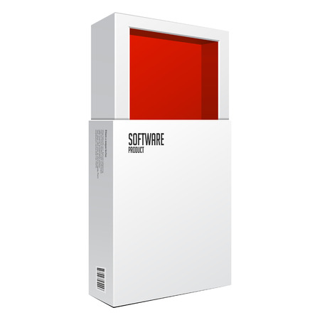 software package: Opened White Modern Software Package Box Red  Illustration