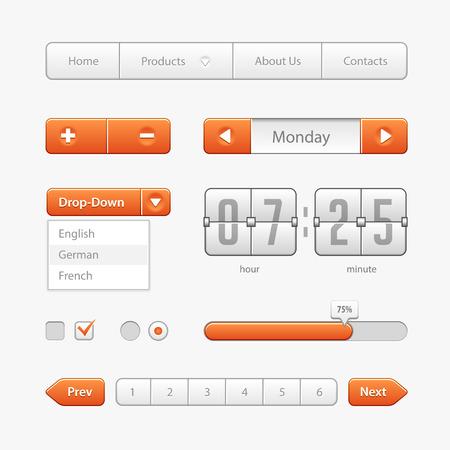 Commandes de l'interface utilisateur orange clair.