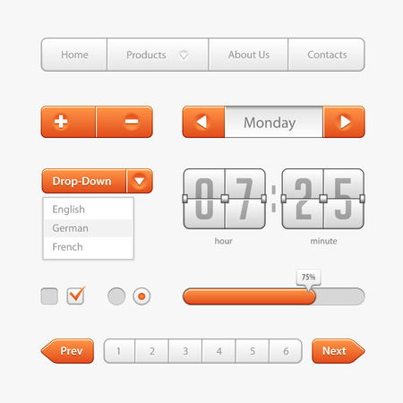 pagination: Orange Light User Interface Controls.  Illustration
