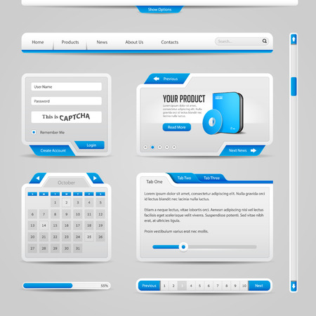 pagination: Web UI Controls Elements Gray And Blue On Light Background