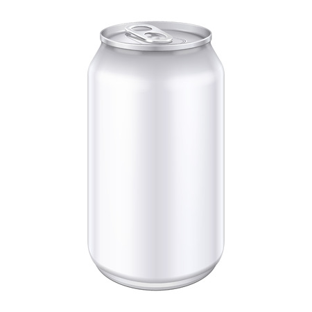 White Metal Aluminum Beverage Drink Can 500ml. Imagens - 37373153