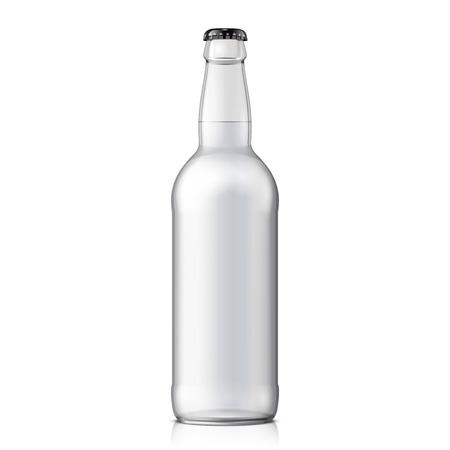 botella de licor: Mock embotellar cerveza de cristal limpio en fondo blanco aislado. Vectores