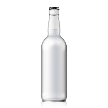 mock up: Mock Up Glass Beer Clean Bottle On White Background Isolated.