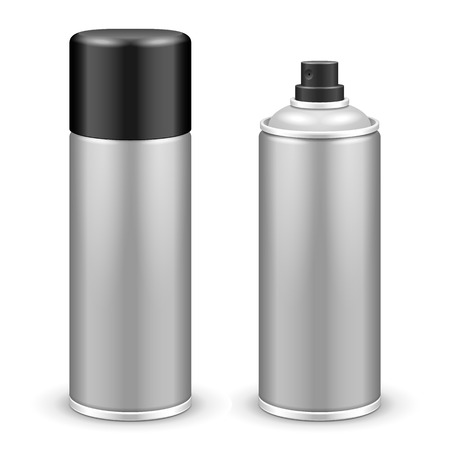 Two Gray Aerosol Spray Metal 3D Bottle Can 免版税图像 - 37373159