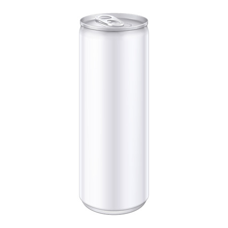 White Metal Aluminum Beverage Drink Can. Ready For Your Design. Product Packing Vector EPS10