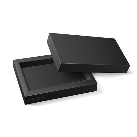 Opened Black Cardboard Package Mock Up Box. Gift Candy.  Vectores