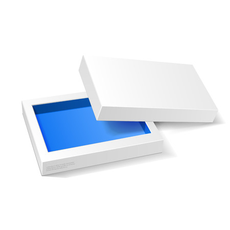 Opened White Blue Cardboard Package Box. Gift Candy. On White Background Isolated. Ready For Your Design. Product Packing Vector EPS10 Vettoriali