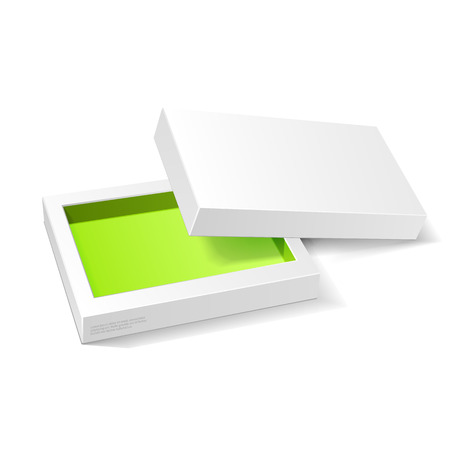 candy box: Opened White Green Cardboard Package Box. Gift Candy. On White Background Isolated. Ready For Your Design. Product Packing Vector EPS10