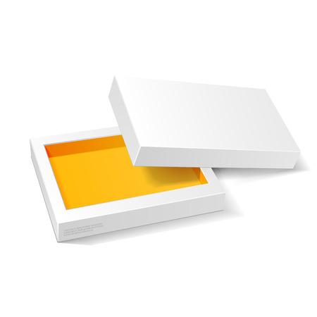 화이트 오렌지 옐로우 골판지 포장 모의 업 상자가 열립니다. 일러스트