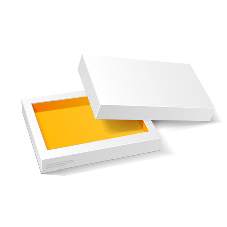 packaging: Opened White Orange Yellow Cardboard Package Mock Up Box.