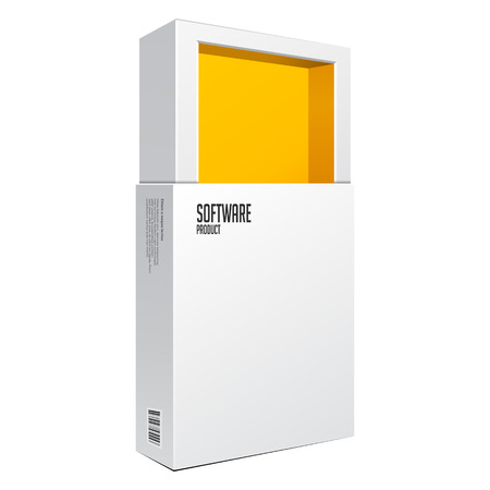 software box: Opened White Modern Software Package Box Orange Yellow Inside For DVD, CD Disk Or Other Your Product EPS10