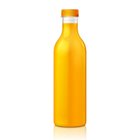 Mock Up Juice Glass Plastic Yellow Orange Bottle On White Background Isolated. Ready For Your Design. Product Packing. Vector EPS10