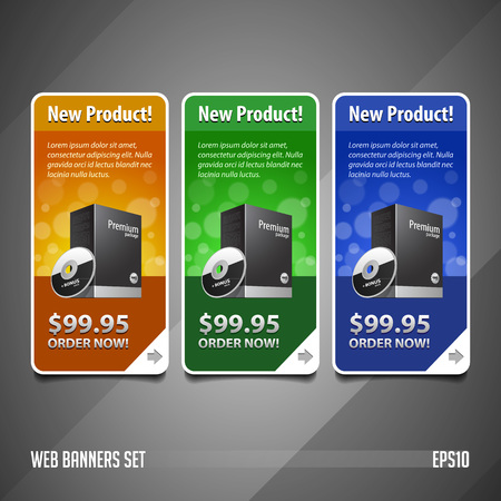 product box: Modern Special Offer Web Banner Set Vector Colored: Yellow, Orange, Green, Blue. Website Showing Product Box, Purchase Download Button. Illustration