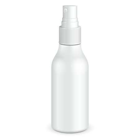 freshener: Spray Cosmetic Parfume, Deodorant, Freshener Or Medical Antiseptic Drugs Plastic Bottle White. Ready For Your Design. Product Packing Vector EPS10