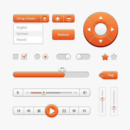 player controls: Orange Light User Interface Controls. Web Elements. Website, Software UI: Buttons, Switchers, Drop-down, Navigation Bar, Menu, Check Box, Radio, Scroller, Progress Bar, Volume, Tag, Player, Play